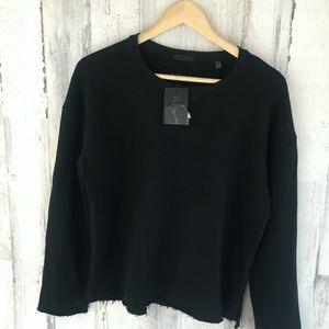 ATM Black Sweatshirt Crewneck Long Sleeve Raw Hem